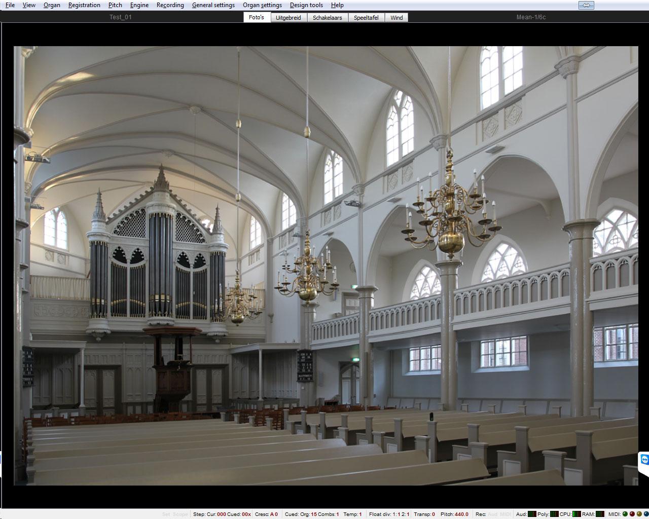 Virtuele speeltafel van het Bätz orgel in Zeist